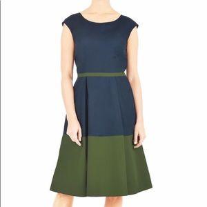 NWOT eShakti Navy & Green Color Block Dress